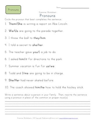 Choose the Pronoun - 2nd Grade Pronoun Worksheet 1 | All ...