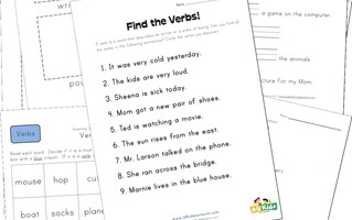 first grade verb worksheets