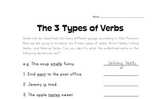 Linking Verb Worksheets | All Kids Network
