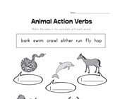 animal action verbs worksheet