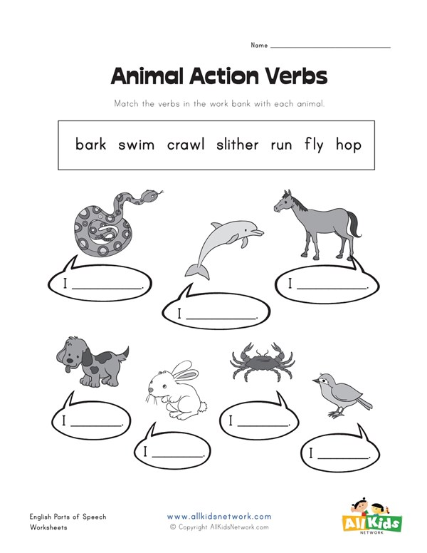 Animal Action Verbs Worksheet | All Kids Network