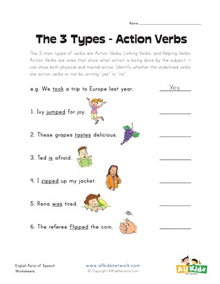 Action Verb Worksheets | All Kids Network