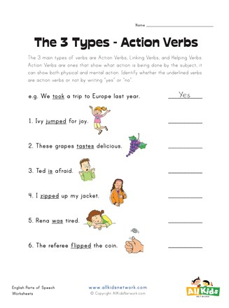 Action Verbs Worksheet All Kids Network