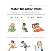 matching action verbs worksheet
