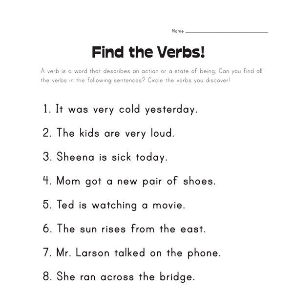 Verbs Worksheets For Grade 3 - Reocurent