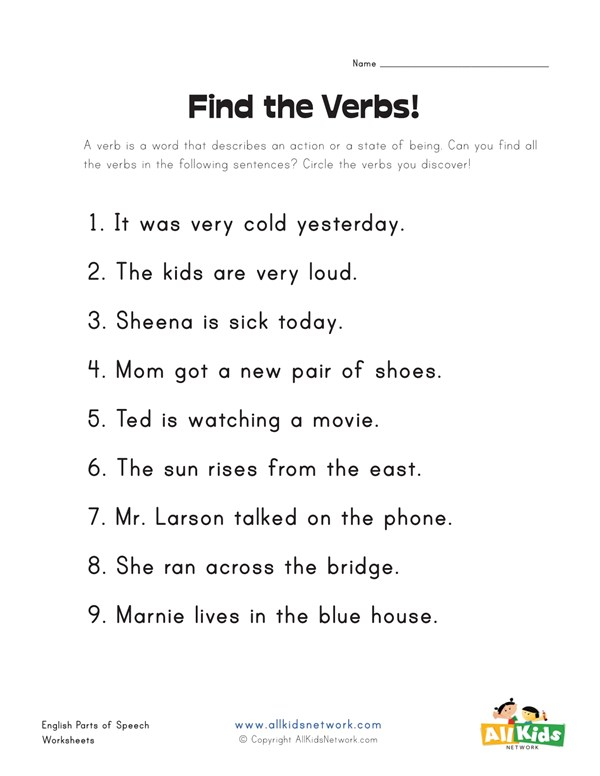 Find the Verbs Worksheet | All Kids Network