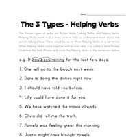 Main and Helping Verbs (Grade 4) - Scholastic Printables
