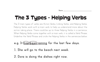 Helping Verb Worksheets | All Kids Network
