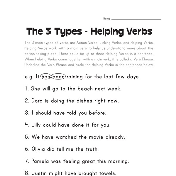 Worksheets Helping Verbs Worksheet helping verb worksheets all kids network circle the verbs worksheet