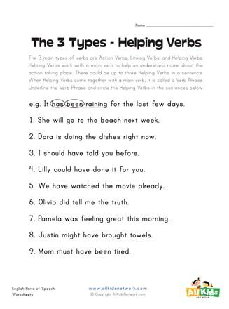 Helping Verbs Worksheet All Kids Network