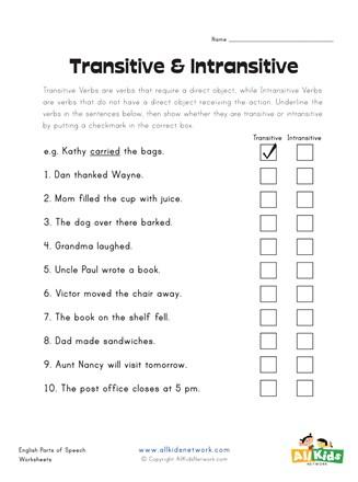 transitive verbs worksheet bluegreenish. Black Bedroom Furniture Sets. Home Design Ideas