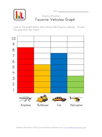 Graphing Worksheet with Vehicles Theme | All Kids Network