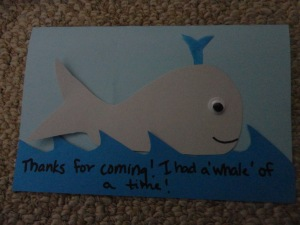 Whale Of A Time Thank You Card All Kids Network