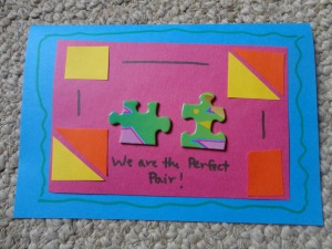 puzzle piece card craft
