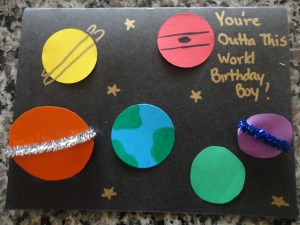 homemade space card craft