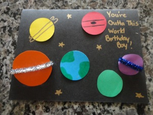 homemade space birthday card craft