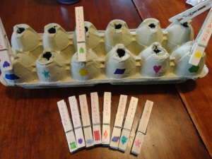 egg carton shape match craft