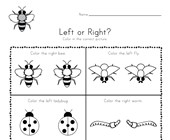 Bugs Left and Right Worksheet