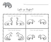 Dinosaur Left and Right Worksheet