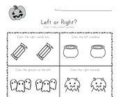 Halloween Left and Right Worksheet
