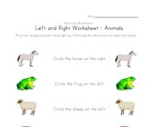 learn left right worksheet animals