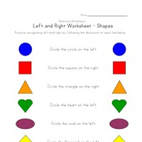 learn left right worksheet shapes