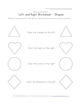 learn left right worksheet coloring shapes