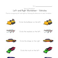 learn left right worksheet vehicles