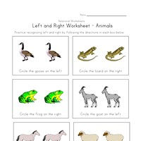 left right worksheet animals