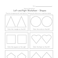 left right worksheet shape