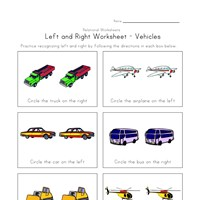 left right worksheet vehicles