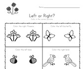 Spring Left and Right Worksheet