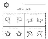 Summer Left and Right Worksheet