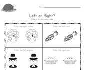 Thanksgiving Left and Right Worksheet
