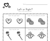 Valentine's Day Left and Right Worksheet
