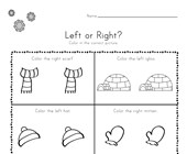 Winter Left and Right Worksheet