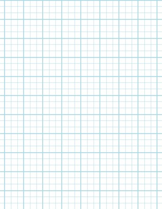 Graph Paper With Letter Page Size, Light Blue Line Color, Heavy Index Line, 3 Lines Per Inch