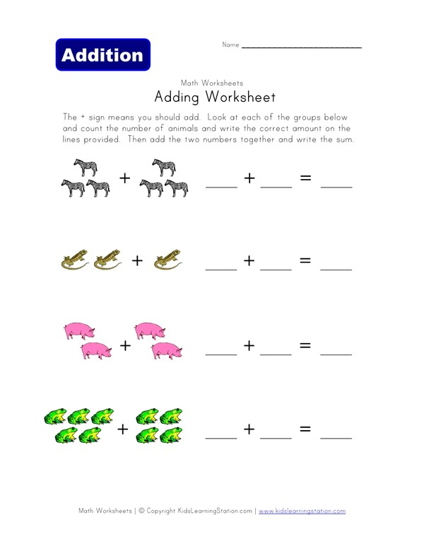 Adding Worksheet - Animals | All Kids Network