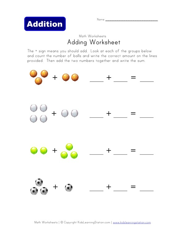 Adding Worksheet - Sports | All Kids Network
