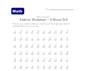 5 minute addition drill worksheet