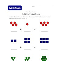 addition equations worksheet shapes