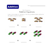 addition equations worksheet vehicles