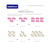 addition equations worksheet animals