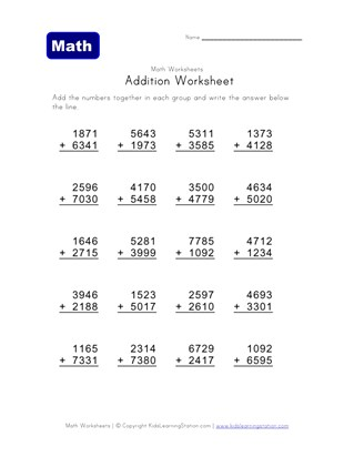 four digit addition worksheet