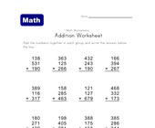 three digit three addend addition worksheet