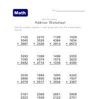 four digit three addend addition worksheet