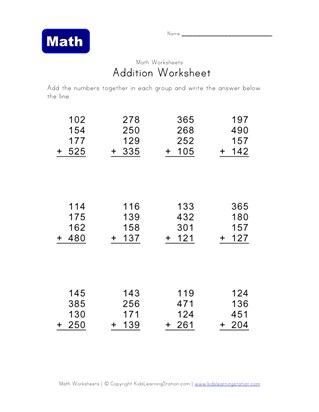 three digit, four addend addition problems worksheet