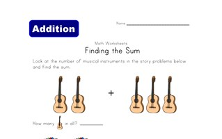 find the sum worksheet musical instruments