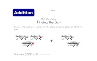 find the sum worksheet vehicles