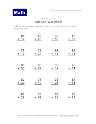 addition worksheets  without carrying  all kids network